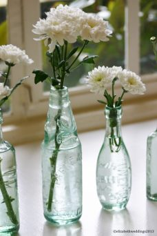 Vintage bottled chrysanthemums