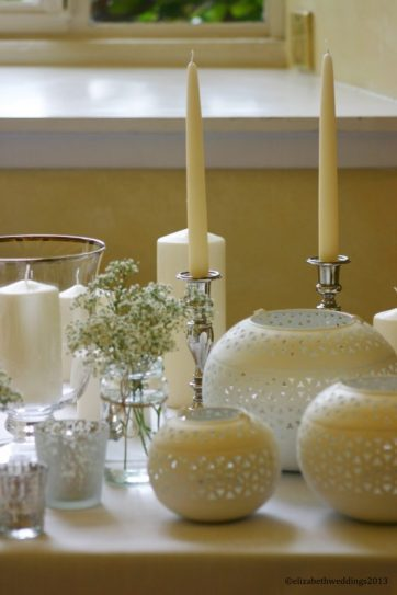 Lanterns, candlesticks and mercury tea lights