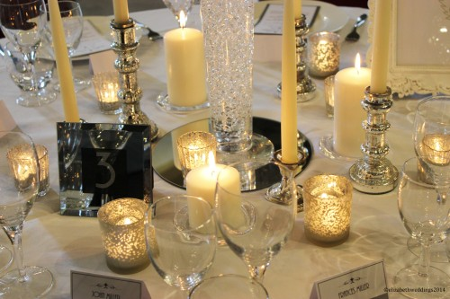 Mercury silvered candlesticks, tea lights and pillar candles