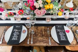 Colour pop and monochrome table- Styling and Design by Elizabeth Weddings