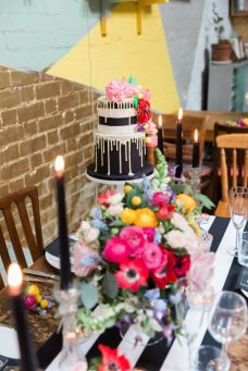 Colour pop and monochrome table setting- Styling and Design by Elizabeth Weddings