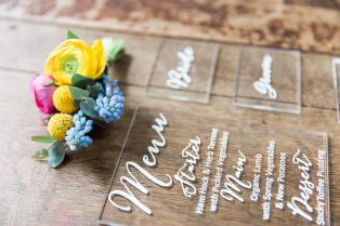 Acrylic menus and decals by Nineteen- Styling by Elizabeth Weddings