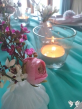 Turquoise, pink and white styling with hints of gold- Elizabeth Weddings