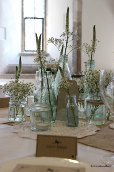Vintage bottle display- Elizabeth Weddings