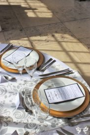 Gold Charger plates and bespoke table runner- Styling by Elizabeth Weddings