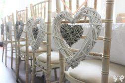 Wicker hearts with peach ribbon- styling by Elizabeth Weddings