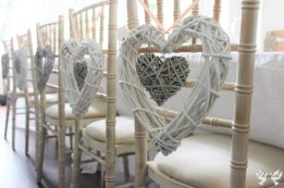 Wicker hearts with peach ribbon- styling by Elizabeth Weddings
