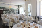 Peach and white, candelabras at KIngs Weston House- Styling by Elizabeth Weddings