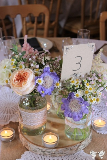 Jam jar flowers at the Over Barn- Styling and Design by Elizabeth Weddings