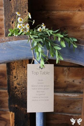 Rustic Table Plan, top table- Design by Elizabeth Weddings