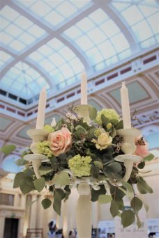 Bristol Harbour Hotel, Ivory candelabra centrepiece- Styling by Elizabeth Weddings