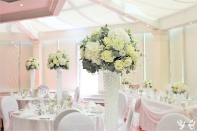Tall Classic White and Ivory flower centrepieces- Styling by Elizabeth Weddings
