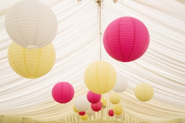 Hanging paper lanterns, styling by Elizabeth Weddings