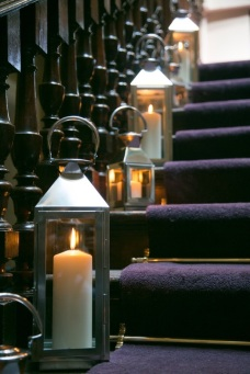 Candle lit stairs, styling by Elizabeth Weddings