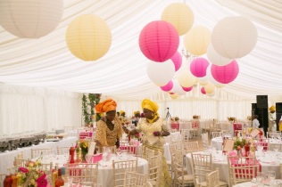 Marquee styling with paper lanterns, styling by Elizabeth Weddings