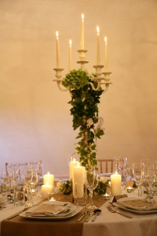 Walton Castle Candelabra centrepiece- styling by Elizabeth Weddings