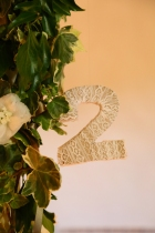 Walton Castle shoot Table Number- styling by Elizabeth Weddings