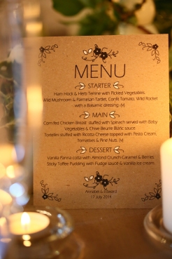 Menu at Walton Castle- Elizabeth Weddings