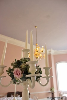 Candelabra centrepiece at Kings Weston House- Elizabeth Weddings