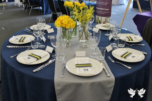Navy Blue, Yellow and Grey table setting- Elizabeth Weddings