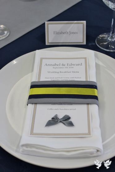 Bespoke fabric napkin ring and menu card- Elizabeth Weddings