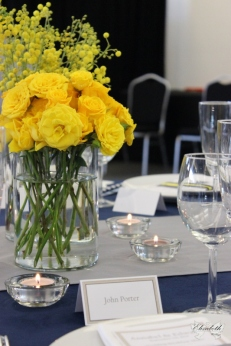 Contemporary yellow floral display- Elizabeth Weddings