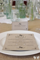 Recycled handmade menu cards- Elizabeth Weddings