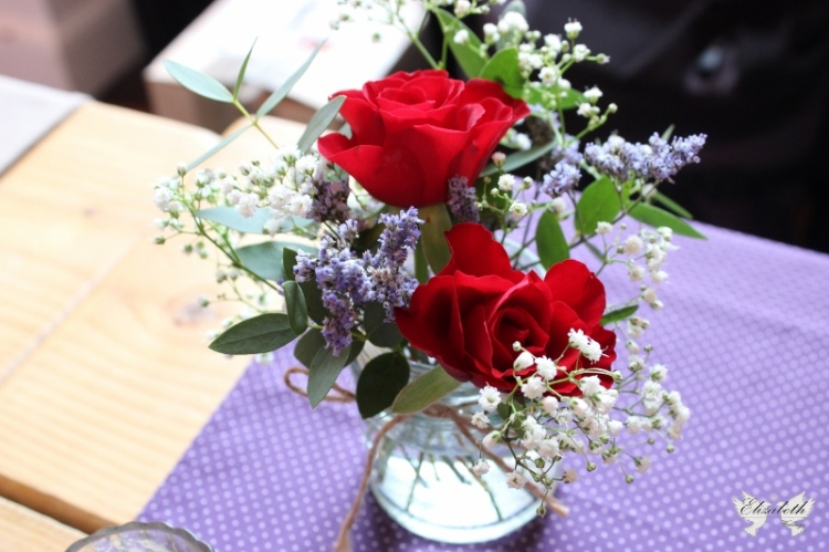 Red, purple and white jam jar flowers- Elizabeth Weddings
