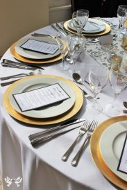 Gold Charger plates- Styling by Elizabeth Weddings