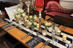 Monochrome and gold styling at The Square Club- Elizabeth Weddings