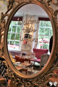 Gold ornate mirrored frame at The Square Club - Styling by Elizabeth Weddings