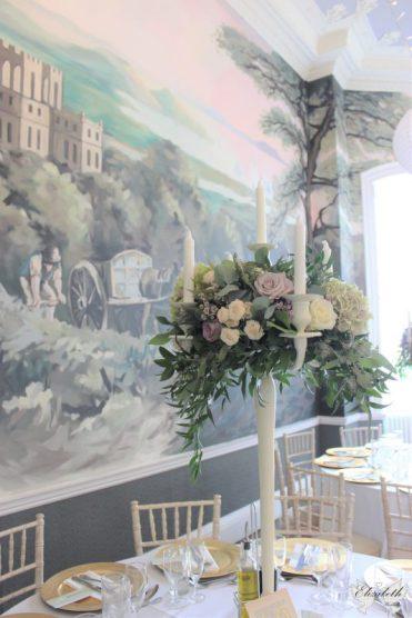 Candelabra flowers and KWH mural- Styling by Elizabeth Weddings