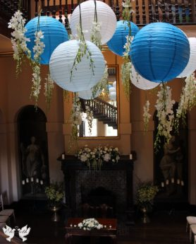 Hanging lanterns in the Great Hall- Styling and Design by Elizabeth Weddings