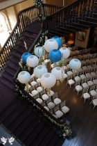 Hanging lanterns in the ceremony room- Styling and Design by Elizabeth Weddings