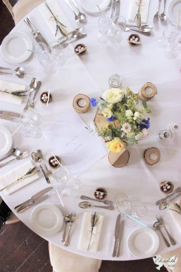 Flat lay, rustic, natural, log centrepiece- Styling by Elizabeth Weddings