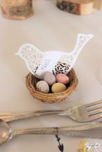 Bird place names and birds nest favours - Design and Styling by Elizabeth Weddings