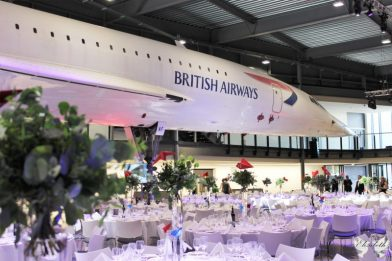 Concorde Alpha Foxtrot and centrepieces for Aerospace Bristol- Elizabeth Weddings and Events