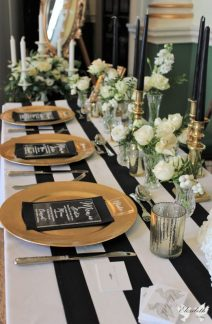 Gold, Black, white and green, Styling by Elizabeth Weddings