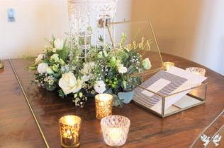 Brass edge glass cards box- Elizabeth Weddings