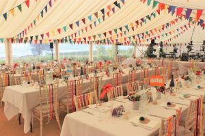Multicoloured marquee wedding, styling by Elizabeth Weddings