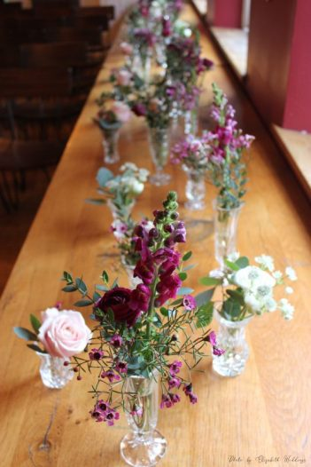 Pink crystal bud vases, styling by Elizabeth Weddings