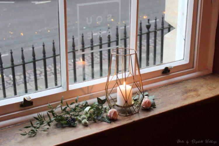 Gold geometric lantern, styling by Elizabeth Weddings