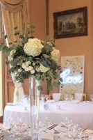 Tall floral centrepieces at Orchardleigh, styling by Elizabeth Weddings