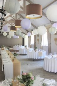 Paper lantern, Lavender, grey and white, styling by Elizabeth Weddings