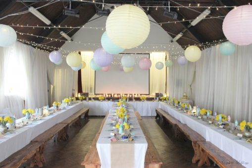 Spring coloured lanterns and fairy light decor, styling by Elizabeth Weddings
