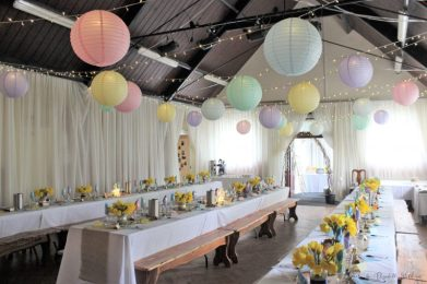 Spring and Pastel Village hall decor, styling by Elizabeth Weddings