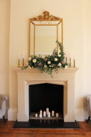 Fireplace and mantelpiece candles, styling by Elizabeth Weddings