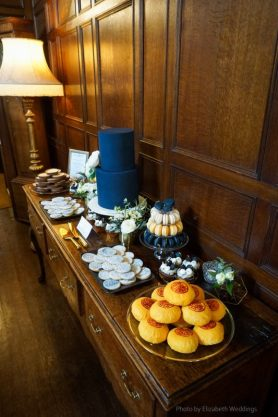 Navy Blue and Gold Cake and Dessert Table, Styling and Design by Elizabeth Weddings