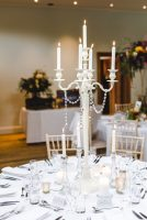 White table centrepiece, by Elizabeth Weddings