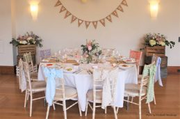 Pastel and rustic top table, styling by Elizabeth Weddings